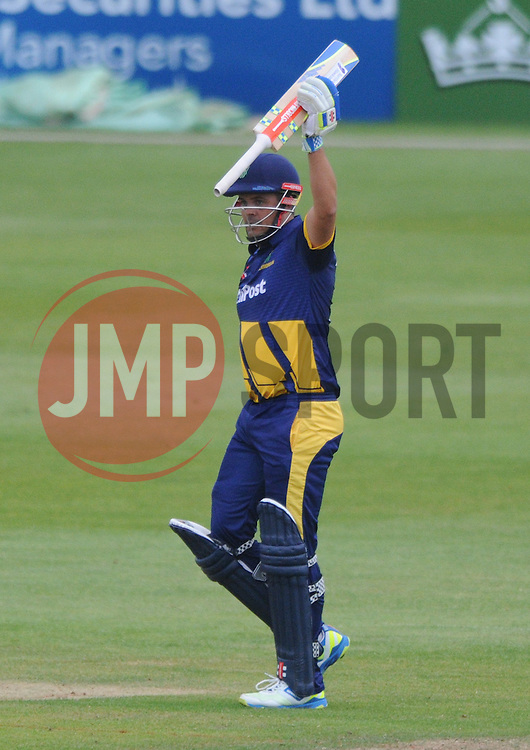 Jacques Rudolph of Glamorgan celebrates scoring a century - Photo mandatory by-line: Dougie Allward/JMP - Mobile: 07966 386802 - 12/06/2015 - SPORT - Cricket - Bristol - County Ground - Gloucestershire v Glamorgan - Natwest T20 Blast
