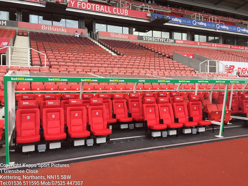 New Leather Dug out Seats at Stoke, Liverpool FC, Stoke City v Liverpool, Premiership, Britannia Stadium Sunday 9th August 2015