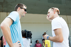 Uros Slokar and Klemen Prepelic during meeting of Slovenian National Nasketball Team at the beginning of Training camp for Eurobasket 2015, on July 18, 2015 in Ljubljana, Slovenia. Photo by Vid Ponikvar / Sportida
