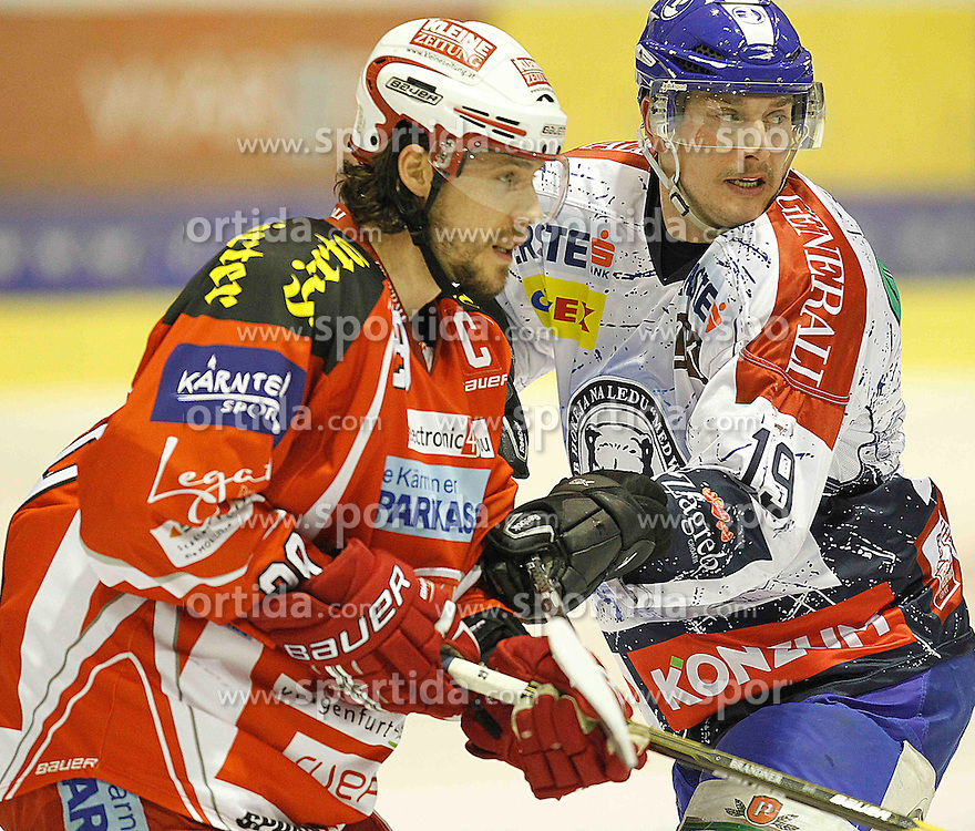 "13.03.2012, Stadthalle, Klagenfurt, AUT, EBEL, EC KAC vs KHL Medvescak Zagreb, Playoff, Halbfinale, 4. Spiel, im Bild Christoph Brandner (KAC) und Ryan Kinasewich (Zagreb),  during the semifinal Match of ""Erste Bank Icehockey League"", fourth play between EC KAC and KHL Medvescak Zagreb at Stadthalle, Klagenfurt, Austria on 2012/03/13. EXPA Pictures © 2012, PhotoCredit: EXPA/ Oskar Hoeher."