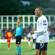 ANDORRA LA VELLA, ANDORRA. June 1.  Kylian Mbappe #10 of France reacts during the Andorra V France 2020 European Championship Qualifying, Group H match at the Estadi Nacional d'Andorra on June 11th 2019 in Andorra (Photo by Tim Clayton/Corbis via Getty Images)