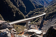 otira viaduct spans the mighty power of otira gorge, arthur's pass, canterbury, new zealand