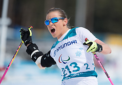 March 17, 2018 - Pyeongchang, South Korea - Oksana Masters of the US finishes the Cross Country 5km sitting event Saturday, March 17, 2018 at the Alpensia Biathlon Center at the Pyeongchang Winter Paralympic Games. Masters took the gold. Photo by Mark Reis (Credit Image: © Mark Reis via ZUMA Wire)