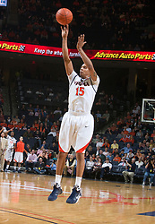 Virginia guard Sylven Landesberg (15) shoots a three point jump shot against Miami.  The Virginia Cavaliers fell to the Miami Hurricanes 62-55 at the John Paul Jones Arena on the Grounds of the University of Virginia in Charlottesville, VA on February 26, 2009.