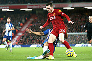 Liverpool defender Andrew Robertson (26) during the Premier League match between Liverpool and Brighton and Hove Albion at Anfield, Liverpool, England on 30 November 2019.