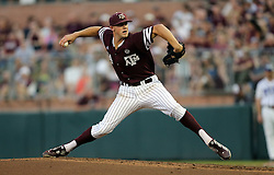 Texas A&M's Kyle Simonds (14) throws to home against TCU during the first inning of a NCAA college baseball Super Regional tournament game, Saturday, June 11, 2016, in College Station, Texas. (AP Photo/Sam Craft)