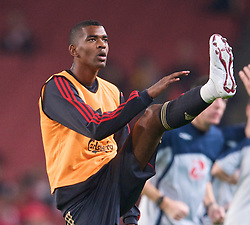 LONDON, ENGLAND - Wednesday, October 28, 2009: Liverpool's Damien Plessis warms-up before the League Cup 4th Round match against Arsenal at Emirates Stadium. (Photo by David Rawcliffe/Propaganda)