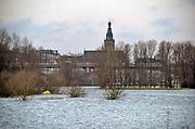 Nederland, Nijmegen, ooijpolder, 7-1-2018 Het waterpeil van de rivier de Waal stijgt weer. De uiterwaarden lopen onder. Het vee is naar hoger land gedreven. Het is niet zeker of het water over de Waalkade zal gaan.Foto: Flip Franssen
