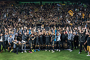 LAFC players and fans celebrate 3-1 victory over the Houston Dynamo to earn the Supporters' Shield for the best regular season reecord during a MLS soccer game, Saturday, Sept 25, 2019, in Los Angeles. (Jon Endow/Image of Sport)