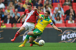 Norwich Russell Martin Tackles Middlesbrough Lee Tomlin, Middlesbrough v Norwich, Sky Bet Championship, Play Off Final, Wembley Stadium, Monday  25th May 2015
