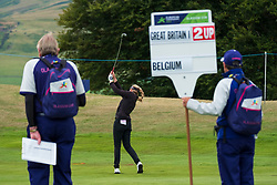Gleneagles, Scotland, UK; 10 August, 2018.  Day three of European Championships 2018 competition at Gleneagles. Men's and Women's Team Championships Round Robin Group Stage. Four Ball Match Play format.  Pictured; Marion de Roey of Belgium plays approach to the 7th green in match against Great Britain
