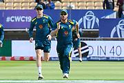 David Warner of Australia warming up ahead of the ICC Cricket World Cup 2019 semi final match between Australia and England at Edgbaston, Birmingham, United Kingdom on 11 July 2019.