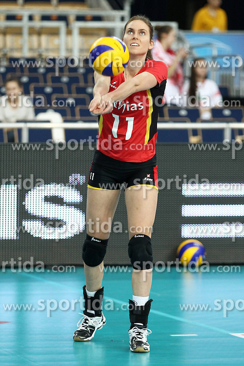 04.01.2014, Atlas Arena, Lotz, POL, FIVB, Damen WM Qualifikation, Belgien vs Schweiz, im Bild ELS VANDESTEENE SYLWETKA // ELS VANDESTEENE SYLWETKA during the ladies FIVB World Championship qualifying match between Belgium and Switzerland at the Atlas Arena in Lotz, Poland on 2014/01/05. EXPA Pictures &copy; 2014, PhotoCredit: EXPA/ Newspix/ Maciej Goclon<br /> <br /> *****ATTENTION - for AUT, SLO, CRO, SRB, BIH, MAZ, TUR, SUI, SWE only*****