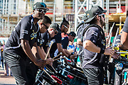 Jacksonville Jaguars band (Florida Blue) play outside wembley during the International Series match between Baltimore Ravens and Jacksonville Jaguars at Wembley Stadium, London, England on 24 September 2017. Photo by Jason Brown.