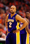 May 29, 2010; Phoenix, AZ, USA; Los Angeles Lakers guard Derek Fisher (2) reacts during the first quarter in game six of the western conference finals in the 2010 NBA Playoffs at US Airways Center.  The Lakers defeated the Suns 111-103.  Mandatory Credit: Jennifer Stewart-US PRESSWIRE