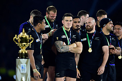 Sonny Bill Williams of New Zealand eyes the Webb Ellis Cup after the match - Mandatory byline: Patrick Khachfe/JMP - 07966 386802 - 31/10/2015 - RUGBY UNION - Twickenham Stadium - London, England - New Zealand v Australia - Rugby World Cup 2015 Final.