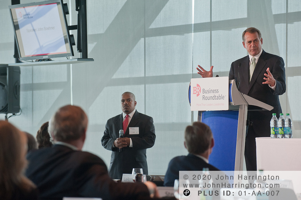 Speaker John Boehner, spoke to top business leaders during the Business Roundtable annual meetings at the Newseum in Washington, DC on September 21st, 2011.