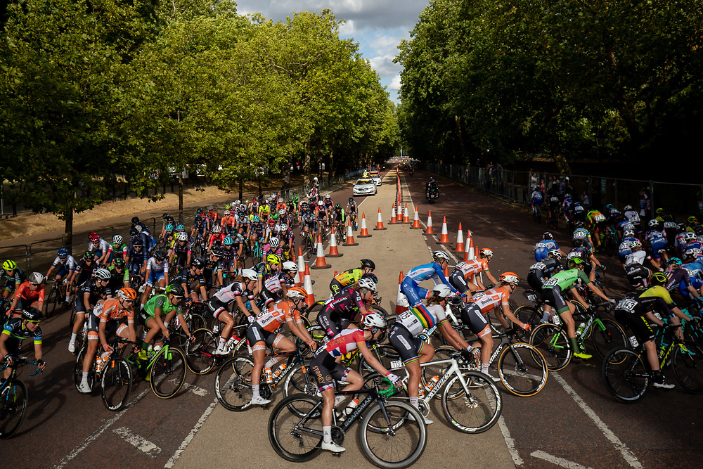 The peloton makes the tight turn at the top of Constitution Hill. The Prudential RideLondon Classique. Saturday 28th July 2018<br /> <br /> Photo: Jed Leicester for Prudential RideLondon<br /> <br /> Prudential RideLondon is the world's greatest festival of cycling, involving 100,000+ cyclists - from Olympic champions to a free family fun ride - riding in events over closed roads in London and Surrey over the weekend of 28th and 29th July 2018<br /> <br /> See www.PrudentialRideLondon.co.uk for more.<br /> <br /> For further information: media@londonmarathonevents.co.uk