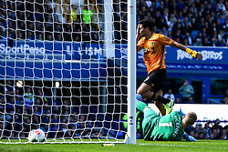Raul Jimenez of Wolverhampton Wanderers holds his face after being kicked by Lucas Digne of Everton who scores an own goal to make it 2-2 - Mandatory by-line: Robbie Stephenson/JMP - 01/09/2019 - FOOTBALL - Goodison Park - Liverpool, England - Everton v Wolverhampton Wanderers - Premier League