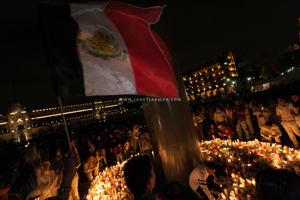 Citizens in Mexico City erect a symbolic altar at the end of a silent march through the city in 2008 to protest escalating violence and continued impunity throughout the country.