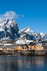 Traditional wooden Rorbu fishermen`s huts in village of Sakrisoy on Moskenesoya Island in Lofoten Islands in Norway