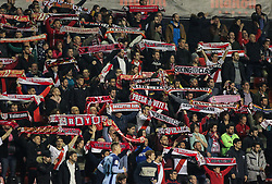March 1, 2019 - Madrid, Madrid, Spain - Supporters of Rayo Vallecano in action during La Liga Spanish championship, , football match between Rayo Vallecano and Girona , March 01th, in Estadio de Vallecas in Madrid, Spain. (Credit Image: © AFP7 via ZUMA Wire)