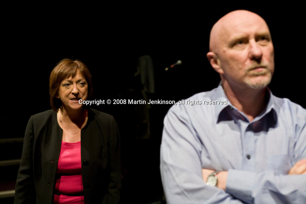 Kate Rutter and Mike McCarthy. celebrating Linda Smith, Crucible Studio Sheffield 03/04/08...© Martin Jenkinson, tel 0114 258 6808 mobile 07831 189363 email martin@pressphotos.co.uk. Copyright Designs & Patents Act 1988, moral rights asserted credit required. No part of this photo to be stored, reproduced, manipulated or transmitted to third parties by any means without prior written permission.