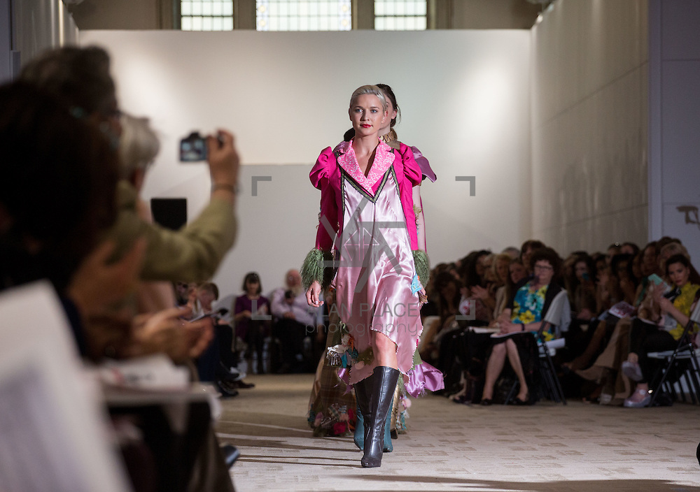 13.05.2016.           <br /> A model showcases designs by Ailbhe Conboy titled 'All Fur Coat & No Knickers' at the much anticipated Limerick School of Art & Design, LIT, (LSAD) Graduate Fashion Show on Thursday 12th May 2016. The show took place at the LSAD Gallery where 27 graduates from the largest fashion degree programme in Ireland showcased their creations. Ranked among the world's top 50 fashion colleges, Limerick School of Art and Design is continuing to mold future Irish designers.. Picture: Alan Place/Fusionshooters