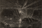 Inundation in a mine. Flooded mine workings with bodies of miners drowned in the disaster.  From  'Underground Life; or, Mines and Miners' by Louis Simonin (London, 1869). Wood engraving.