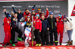 3rd placed HOLDENER Wendy of Switzerland and her team celebrate at Trophy ceremony after the 2nd Run during the Ladies' GiantSlalom at 56th Golden Fox event at Audi FIS Ski World Cup 2019/20, on February 15, 2020 in Podkoren, Kranjska Gora, Slovenia. Photo by Matic Ritonja / Sportida