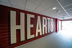 Interior view tunnel at Tyncastle Stadium the home of Hearts Football Club in Edinburgh Scotland, UK ++ Editorial Use Only ++