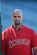 ANAHEIM, CA - JUNE 06:  Albert Pujols (5) of the Los Angeles Angels of Anaheim looks on at batting practice during the game against the Seattle Mariners on Wednesday, June 6, 2012 at Angel Stadium in Anaheim, California. The Mariners won the game 8-6. (Photo by Paul Spinelli/MLB Photos via Getty Images) *** Local Caption *** Albert Pujols