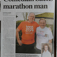 Picture shows actor John Thomson who is backing Dave Beevers who is running the Rotterdam Marathon in memory of his late wife Diane.