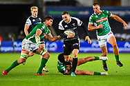 George North of Ospreys breaks the tackle of Marco Zanon of Benetton Treviso<br /> <br /> Photographer Craig Thomas/Replay Images<br /> <br /> Guinness PRO14 Round 4 - Ospreys v Benetton Treviso - Saturday 22nd September 2018 - Liberty Stadium - Swansea<br /> <br /> World Copyright &copy; Replay Images . All rights reserved. info@replayimages.co.uk - http://replayimages.co.uk