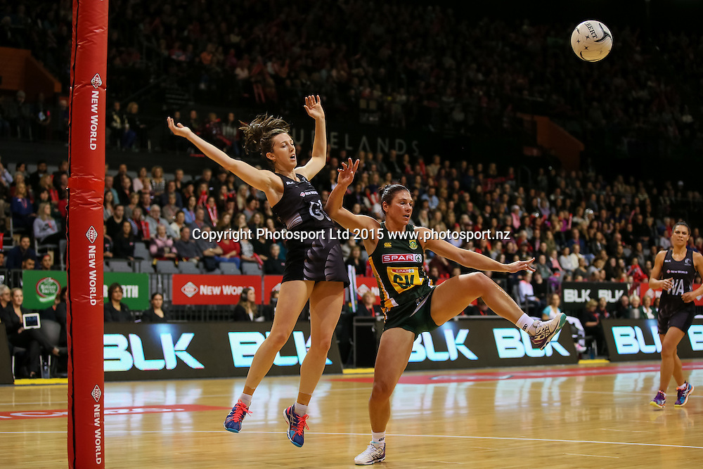Silver Fern's Bailey Mes and Spar Protea's Adele Niemandn compete for the ball during the international Netball match - Silver Ferns v South Africa at Claudelands Arena, Hamilton on Sunday 26 July 2015.  Copyright Photo:  Bruce Lim / www.photosport.nz