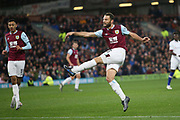 Burnley defender Erik Pieters (23) hits a volley from long range during the Premier League match between Burnley and Chelsea at Turf Moor, Burnley, England on 26 October 2019.