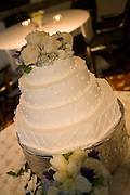 A bride and groom's cake during their wedding reception in the Sutter Club, Sacramento, California.