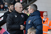 Walsall's manager Jon Whitney shaking hands with Northampton Town's manager Justin Edinburgh before the EFL Sky Bet League 1 match between Walsall and Northampton Town at the Banks's Stadium, Walsall, England on 4 February 2017. Photo by Jacqueline Theodosi.
