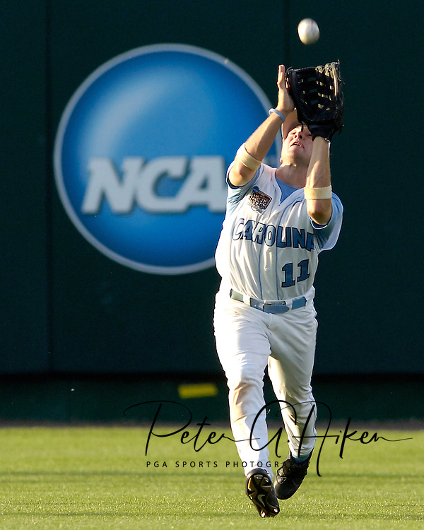 North Carolina center fielder Mike Cavasinni makes the catch against Clemson.  The North Carolina Tar Heels defeated Clemson 2-0 at the College World Series at Rosenblatt Stadium in Omaha, Nebraska, June 18, 2006