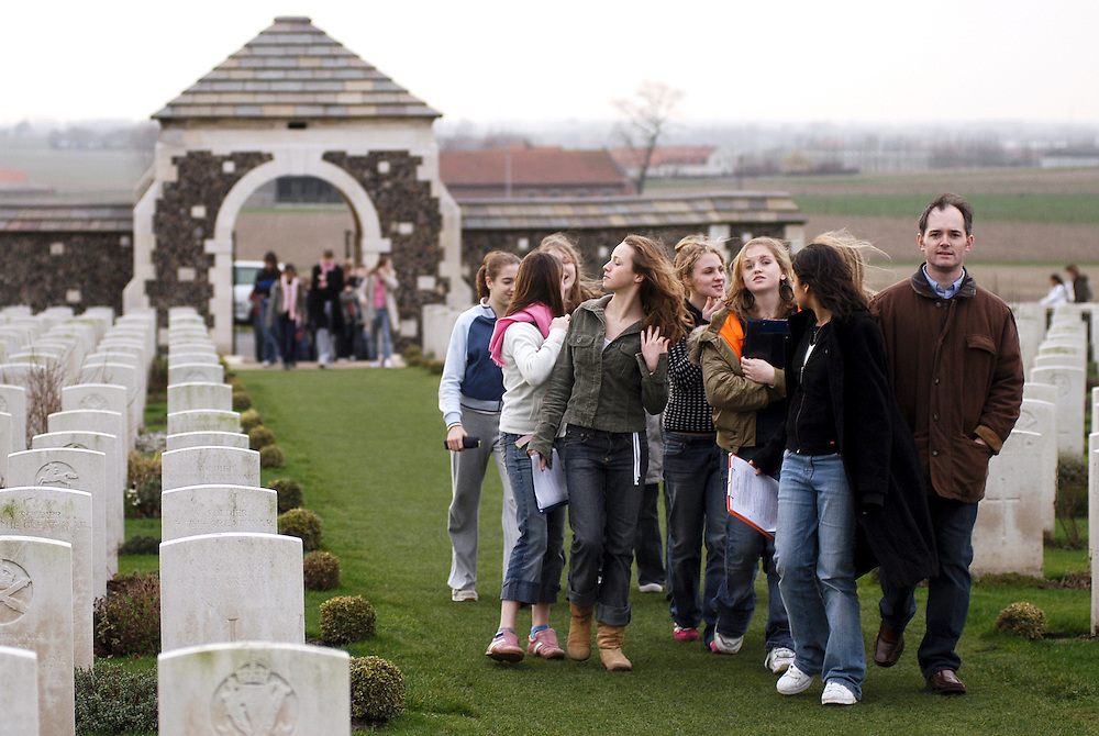 Passendale (Passchendaele) Belgium 05 February 2004<br /> Tyne Cot Cemetery is the resting place of nearly 12,000 soldiers of the Commonwealth Forces, the largest number of burials of any Commonwealth cemetery of either world war. <br /> The dates of death of the soldiers buried at Tyne Cot cover four years from October 1914 to September 1918 inclusive.<br /> About 70% - almost 8,400 - of the total graves in Tyne Cot cemetery are marked with headstones which are inscribed with the words 'Known unto God'. These are some of the 90,000 British and Commonwealth soldiers who fought and died in the Ypres Salient but whose identities could not be established at the time of burial or reburial. The names of these unidentified soldiers are inscribed either on the Menin Gate Memorial in Ypres (Ieper) or on the Memorial wall at the rear of Tyne Cot cemetery. <br /> First world war vestiges report. Extracts of www.greatwar.co.uk<br /> Photo: Ezequiel Scagnetti