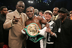 Floyd Mayweather poses after his bout with WBC Junior Welterweight Champion Arturo Gatti at Boardwalk Hall in Atlantic City, NJ.  Floyd Mayweather won the fight via 7th round stoppage.