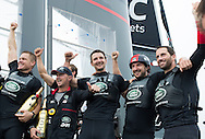 The Louis Vuitton America's Cup World Series. Fukuoka, Japan - November 20th: LandRover BAR skippered by Ben Ainslie with team mates David Carr, Giles Scott, Nick Hutton, Paul Campbell James and Ed Powys pictured here celebrating after winning both the event and World Series title today<br /> Photo by Lloyd Images