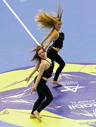 Cheerleaders Plesna sola Urska Celje perform during handball match between RK Celje Pivovarna Lasko and IK Savehof (SWE) in 3rd Round of Group B of EHF Champions League 2012/13 on October 13, 2012 in Arena Zlatorog, Celje, Slovenia. (Photo By Vid Ponikvar / Sportida)