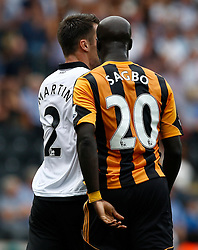 Hull City's Yannick Sagbo headbutts Norwich City's Russell Martin  - Photo mandatory by-line: Matt Bunn/JMP - Tel: Mobile: 07966 386802 24/08/2013 - SPORT - FOOTBALL - KC Stadium - Hull -  Hull City V Norwich City - Barclays Premier League