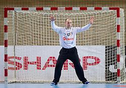 Gorazd Skof of Cimos Koper during handball match between RK Cimos Koper and HCM Constanta in 10th Round of season 2011/2012 of EHF Men's Champions League, on February 25, 2012 in Arena Bonifika, Koper, Slovenia. Cimos Koper defeated Constanta 28-24. (Photo By Vid Ponikvar / Sportida.com)