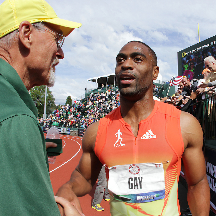 Tyson Gay receives congratulations after making USA Olympic team in 100 meters
