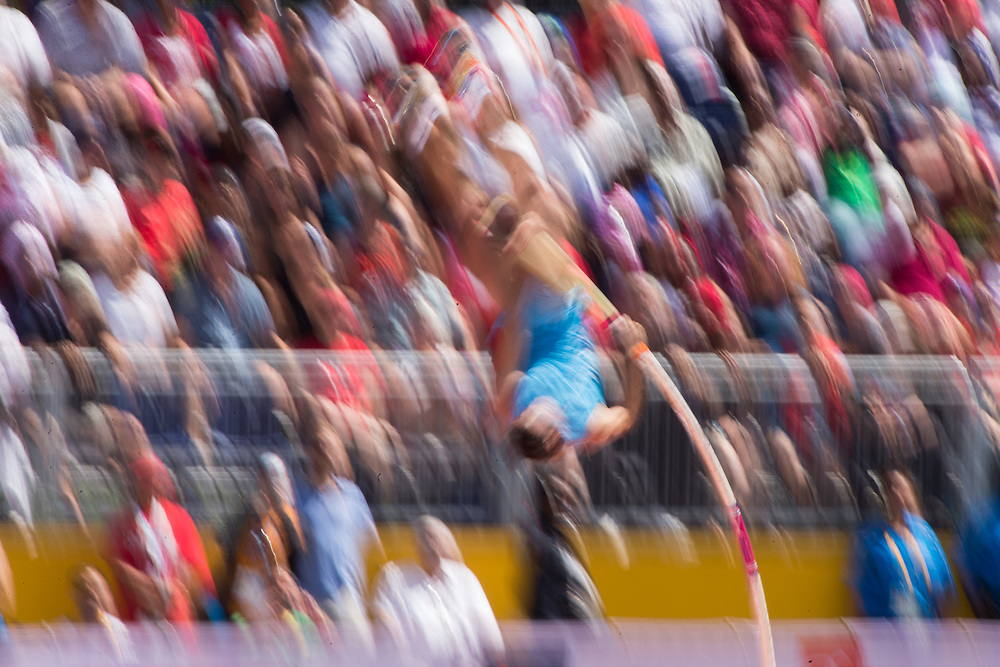 German Chiaraviglio of Argentina competes in the pole vault on the first day of athletics at the 2015 Pan American Games in Toronto, Canada, July 21,  2015. Chiaraviglio won the silver medal with a jump of 5.75 metres.   AFP PHOTO/GEOFF ROBINS