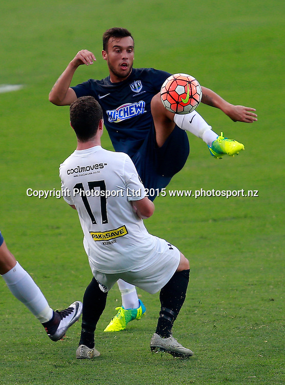 Auckland's Clayton Lewis controls the ball ahead of Wellington's Fergus Neil. ASB Premiership, Round Four, Auckland City FC v Team Wellington, QBE Stadium Auckland, Thursday 28th January 2016. Copyright Photo: Shane Wenzlick