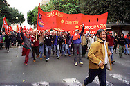 Roma Maggio 2004.Manifestazione degli operai della Fiat di Melfi.Gli Striscioni dei sindacati, Fiom CGIL .Demonstration of workers at Fiat Melfi .The banners salary, rights, democracy,