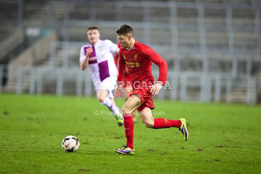 ST. HELENS, ENGLAND - Wednesday, January 15, 2014: Liverpool's Joe Maguire in action against Aston Villa during the FA Youth Cup 4th Round match at Langtree Park. (Pic by David Rawcliffe/Propaganda)